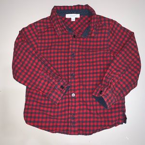 Jacadi Red Checkered Button Up